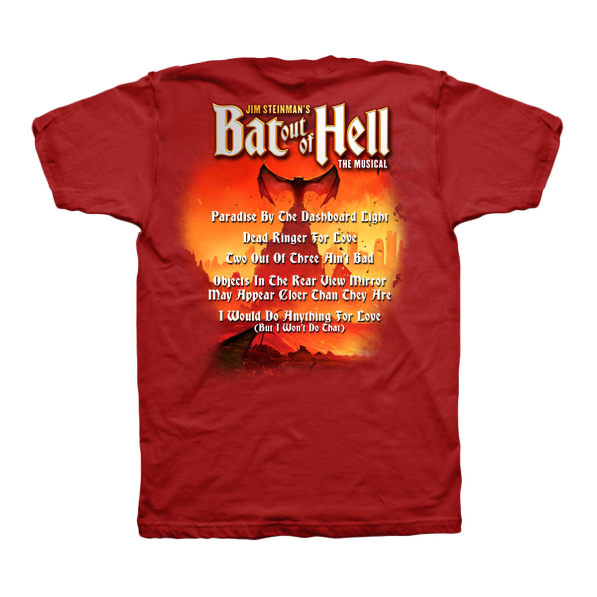 Bat Out Of Hell Men's Red Lyric T-Shirt
