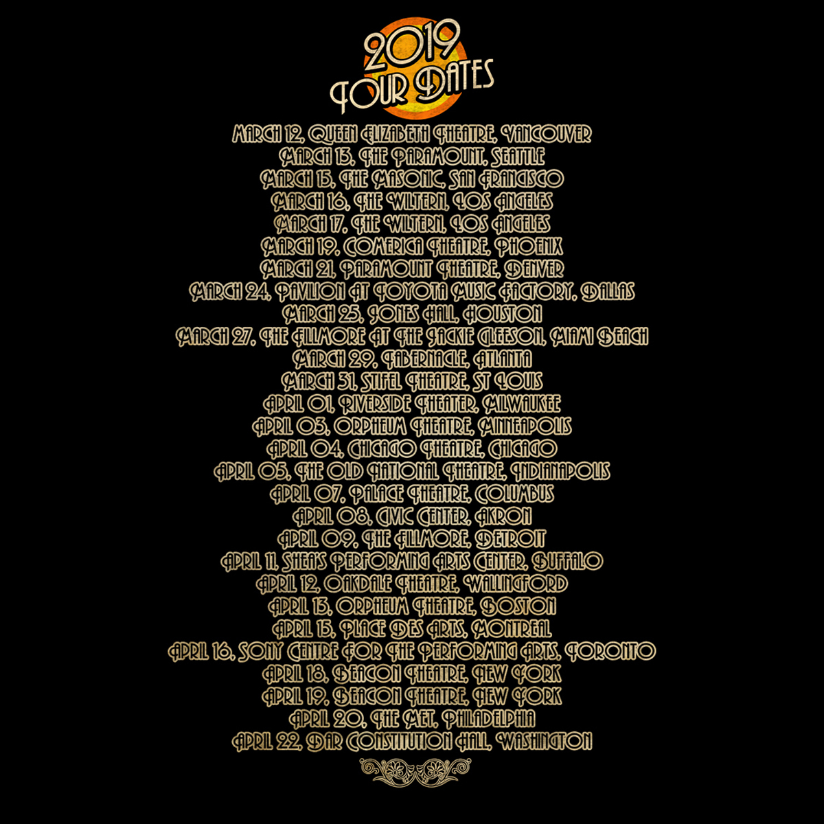 2019 Saucerful of Secrets Tour Dateback T-shirt