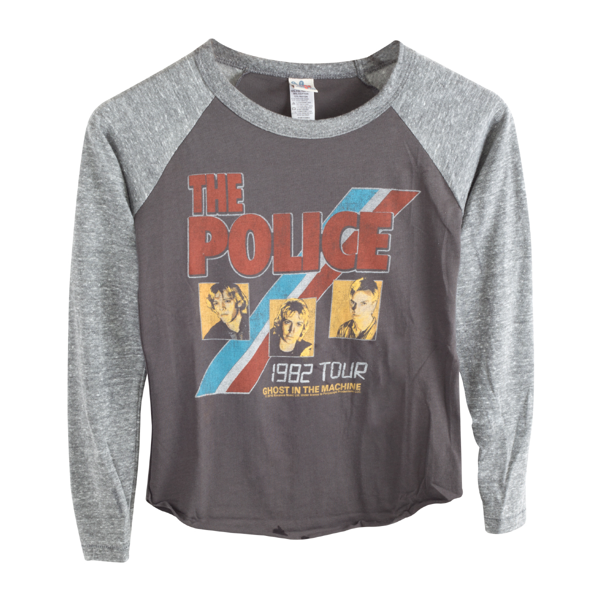 The Police 1984 Ghost in the Machine Three Faces Blue/Red Stripe Grey Kids Tour Raglan