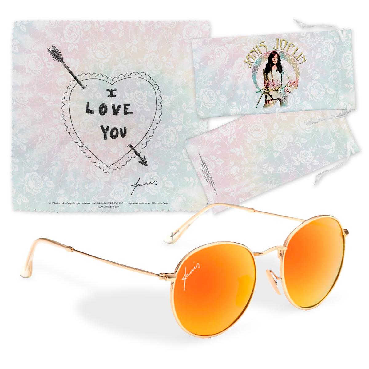 <p>Janis Joplin&trade; Exclusive Sunglasses Kit with Pouch and Cleaning Cloth</p>