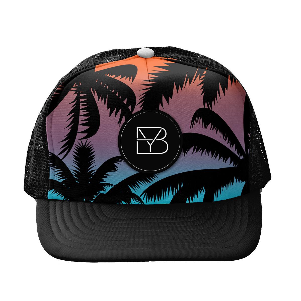 Ombre Palm Tree Trucker Hat