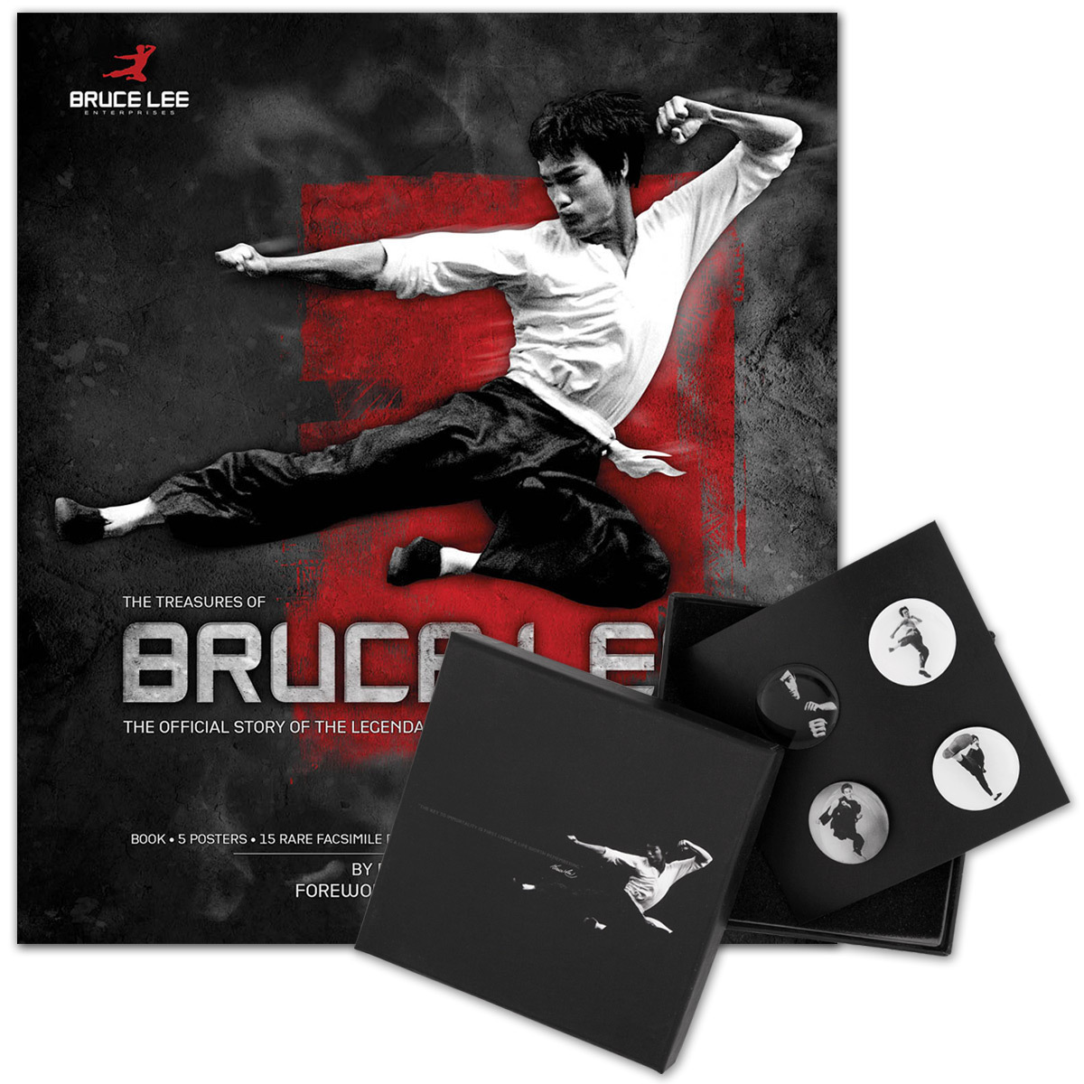 The Treasures of Bruce Lee Book/Bruce Lee LTD Edition Black & White Lapel Pin Set Bundle