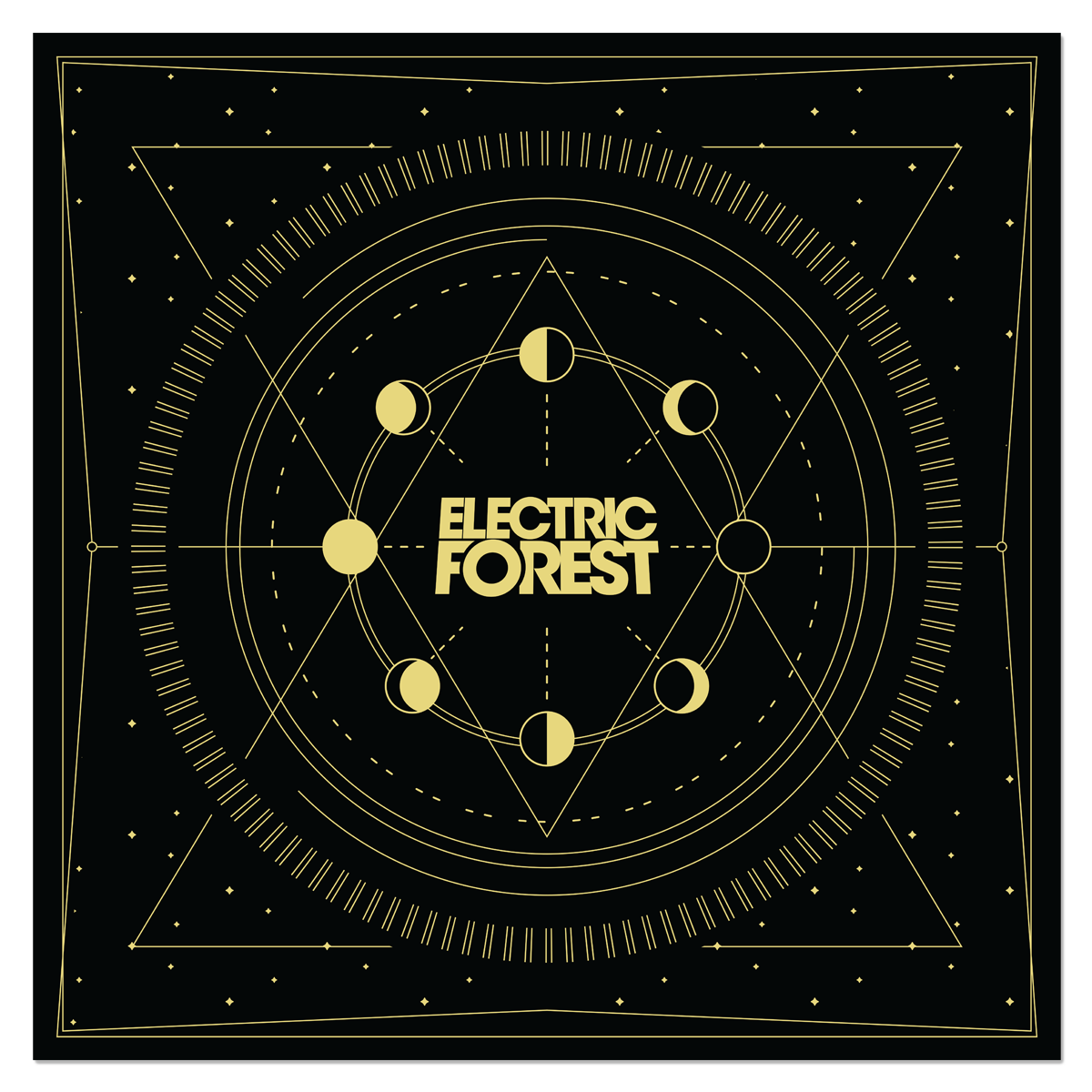 Moon Phases Bandana - Black