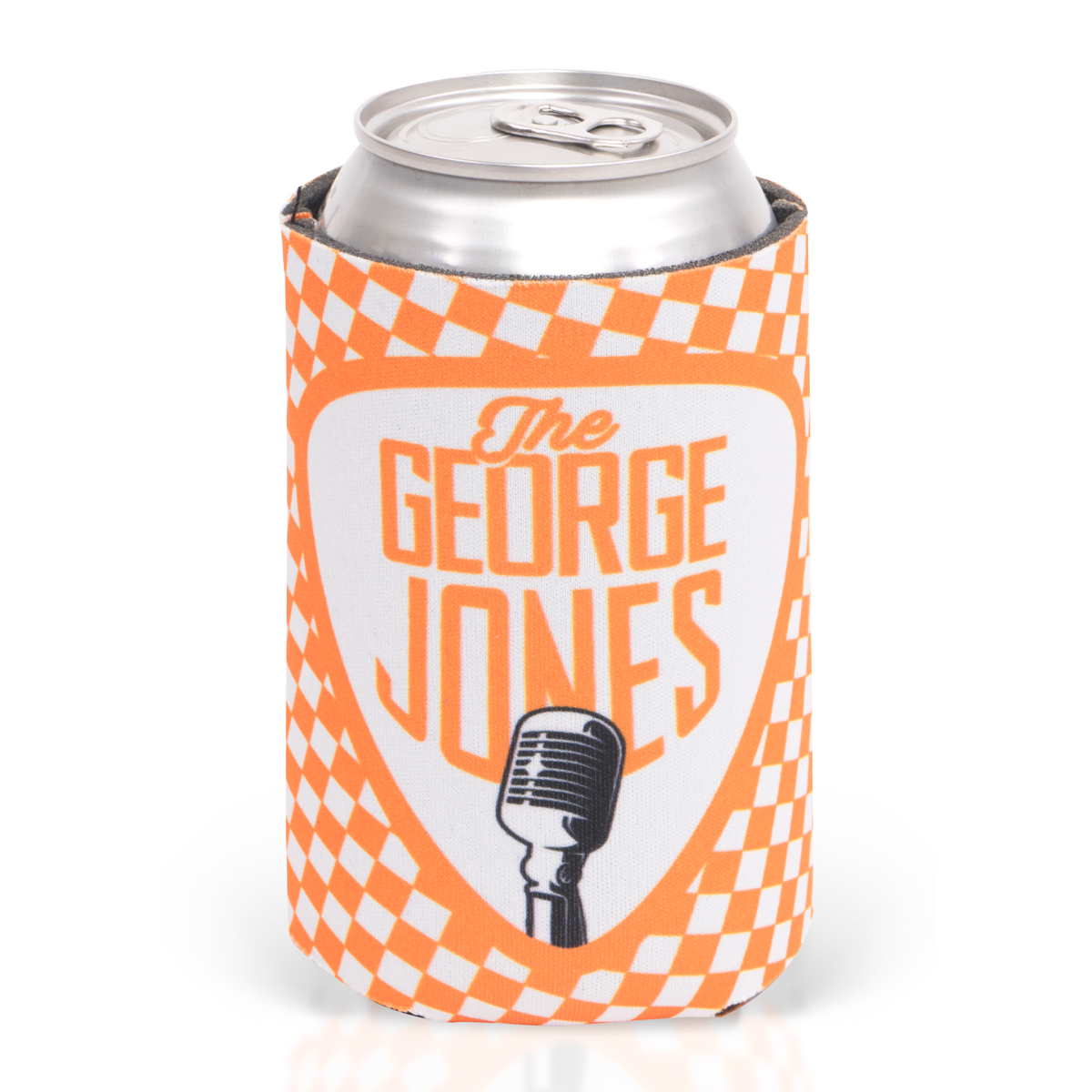 George Jones Orange Checkered College Football Can Cooler