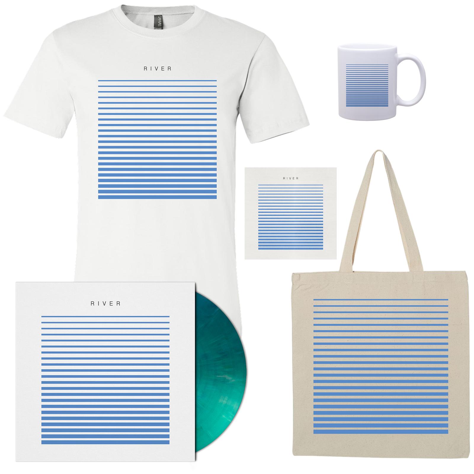 River T-Shirt - White, Tote, Mug, Vinyl, and CD Bundle