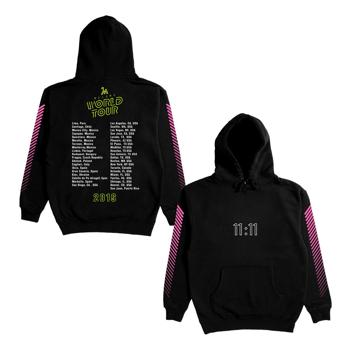 Maluma World Tour Dateback Black Hoodie