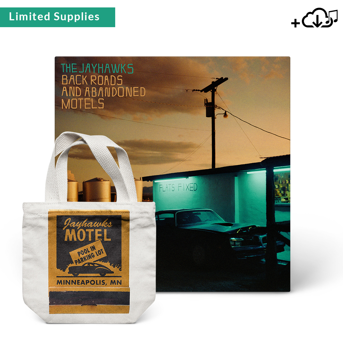 Jayhawks Motel Tote + Back Roads and Abandoned Motels Album