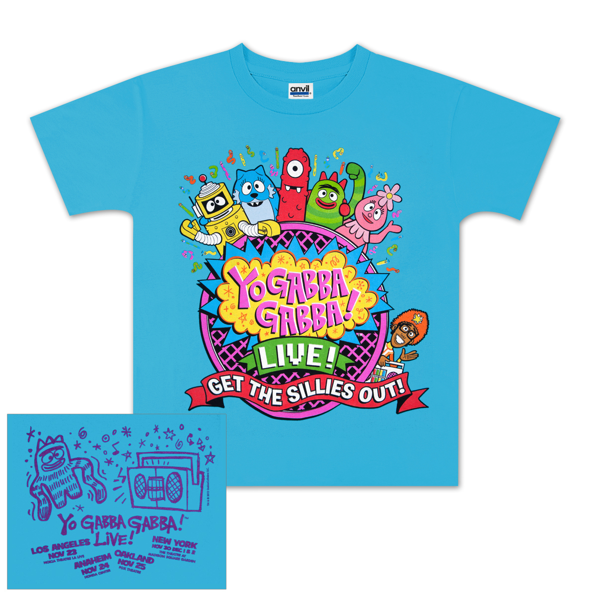 "Yo Gabba Gabba! Live! Youth ""Get The Sillies Out"" Tour T-shirt"