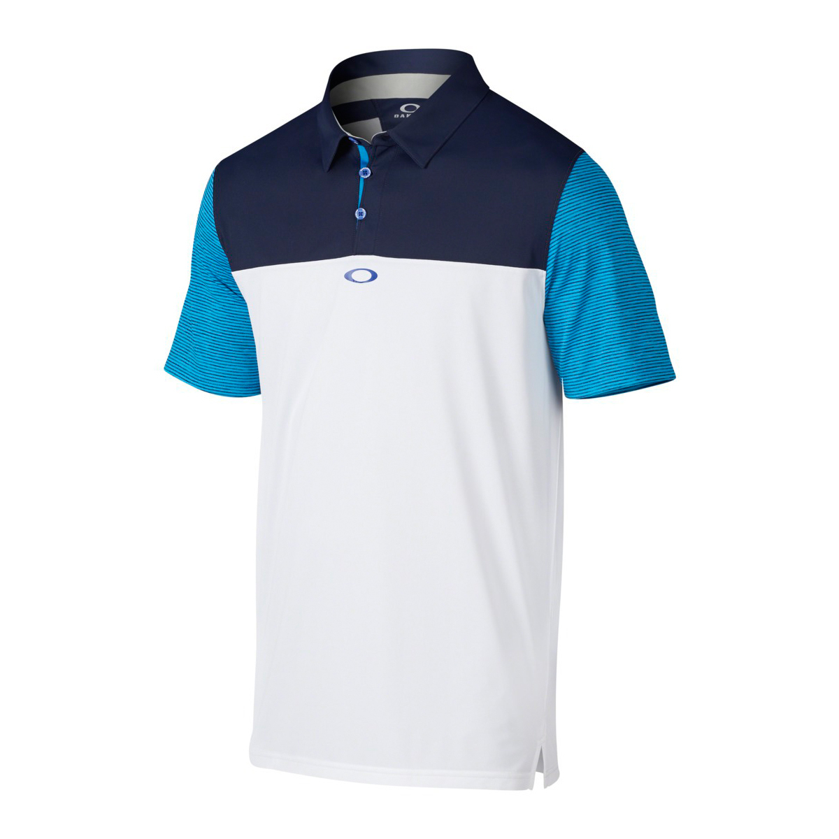 Blue and White Striped Sleeve Oakley Polo
