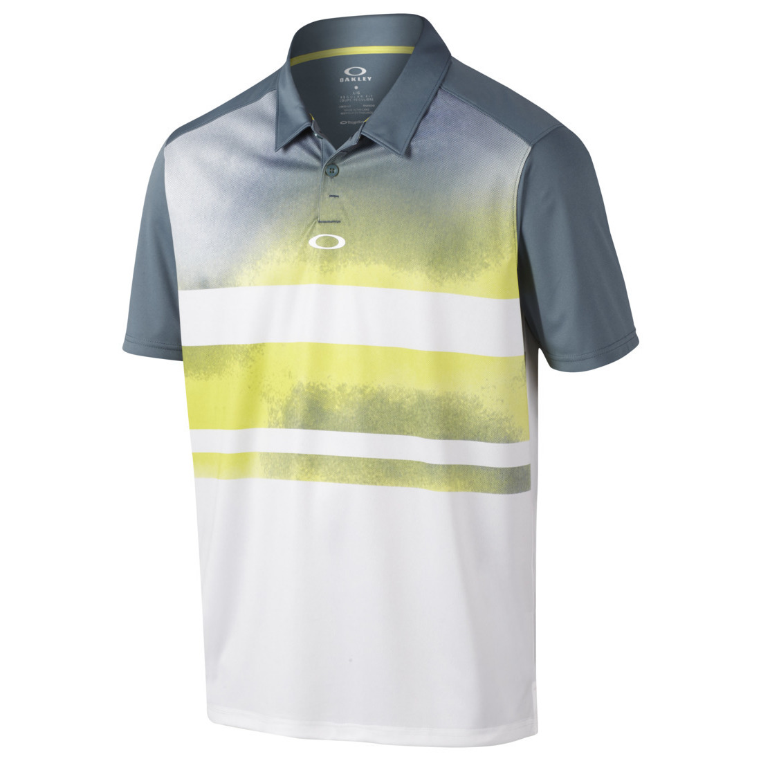 White, Yellow, and Grey Gradient Oakley Polo