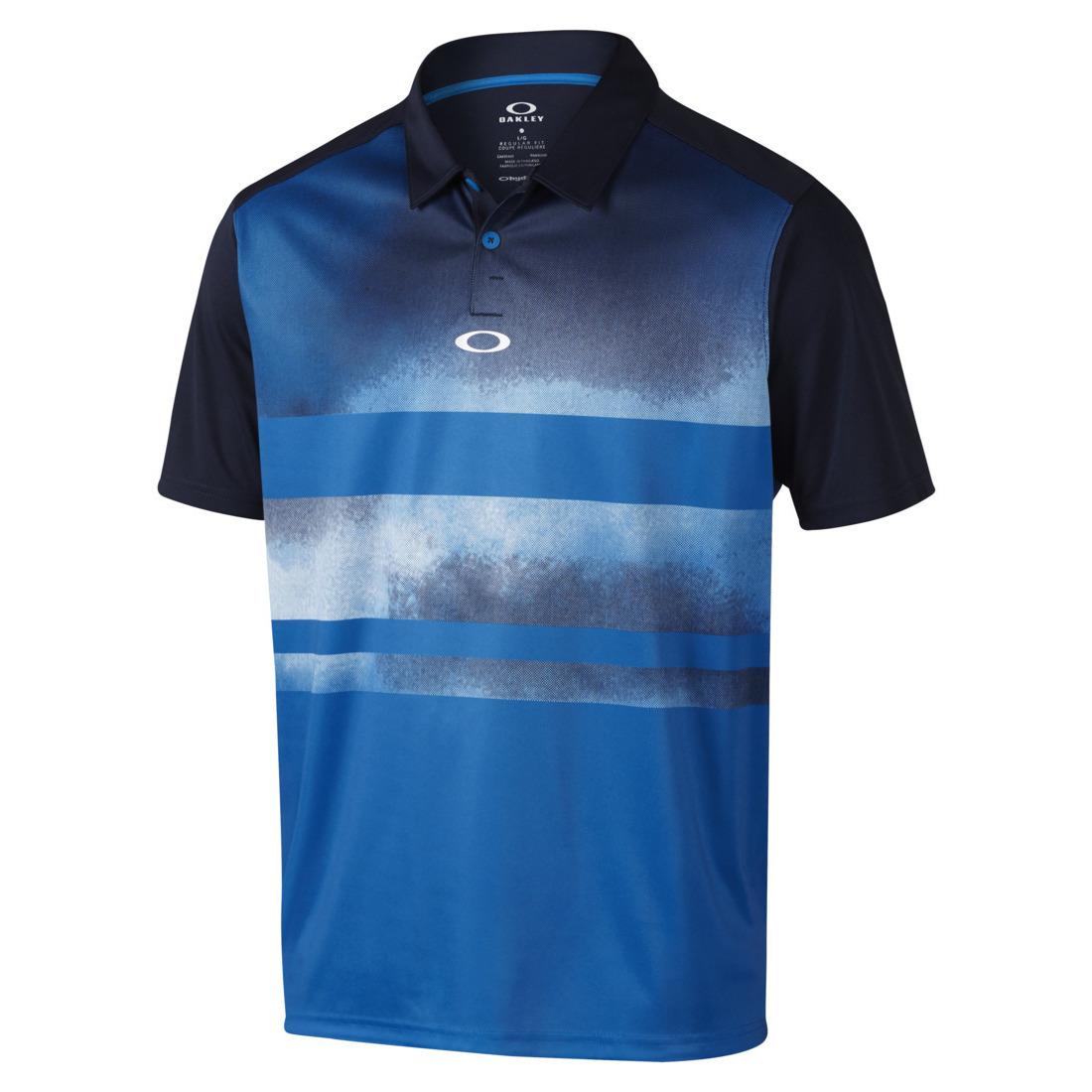 Blue and Black Gradient Striped Oakley Polo