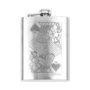 25 Outlaws Face Card Flask
