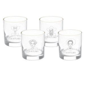 25 Outlaws Whiskey Glass Set