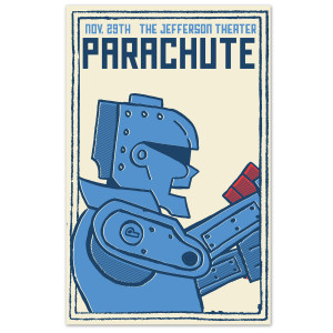 Parachute The Jefferson Theater Blue Robot Poster