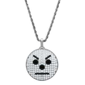 Snowman Emoji Pendant and Chain (White Gold)