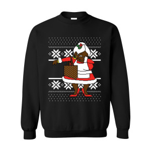 Black Classic Dabbing Black Mrs Claus Ugly Black Sweater