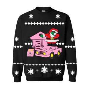 Dabbing Santa Traphouse Crewneck Sweater [Black]