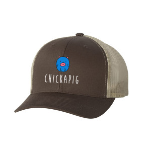 Chickapig Trucker Hat - Brown Khaki with Blue Chickapig