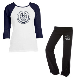 Star Trek Starfleet Academy Ladies Raglan 3/4 Sleeve T and Fitness Pants Set In Blue / White - Medium