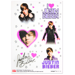 Justin Bieber Sheets on Bieber     Accessories        Justin Bieber Color Tattoo Sheets