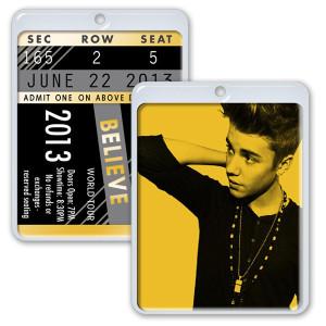 Justin Bieber Ticket Necklace