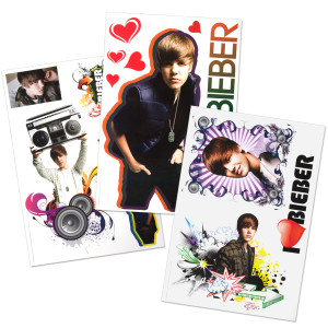 "Justin Bieber 11x17"" Decal Sticker Pack"