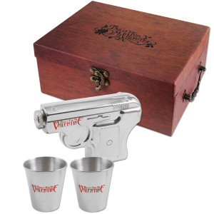 Gun Flask and Shot Glasses Gift Box
