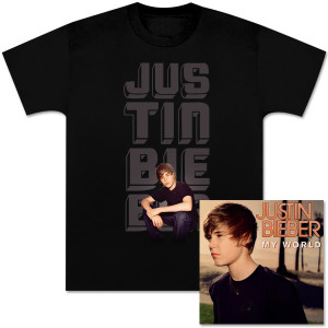 Justin Bieber My World CD and Glow Photo T-Shirt