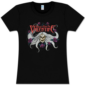 Bullet For My Valentine Skull and Flowers Girlie T-Shirt
