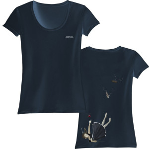 Falling Girl Scoop Neck Juniors T-Shirt