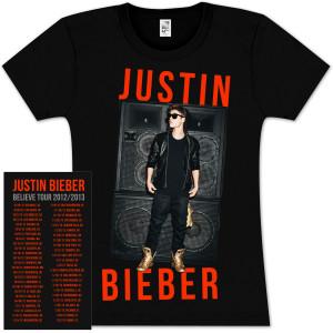 Justin Bieber Shop on Justin Bieber Stereo Girlie T Shirt   Shop Ticketmaster Merchandise
