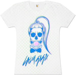 Lady Gaga Skull Bubble Dots Allover Girls Fitted T-Shirt
