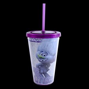 Trolls 16oz Plastic Cold Cup w/Lid & Straw Glitter