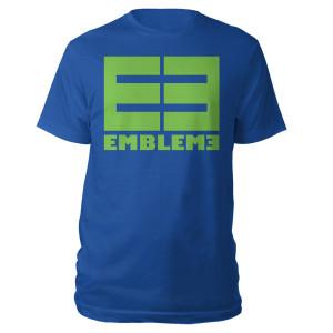 Emblem3 Block Logo Blue Tee