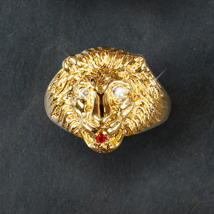 Elvis 18kt Gold Plated Lion Head Ring