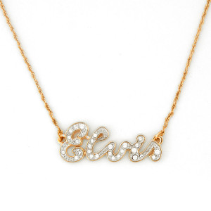 Elvis Script 18K Yellow Gold Plated Necklace w/ Swarovski Crystals