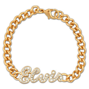 Elvis Script 18K Gold Plated Crystal Bracelet