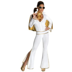 Elvis Women's Jumpsuit Costume - White