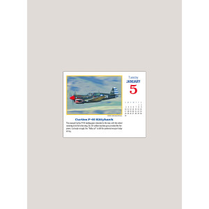 """2021 Golden Age of Flight 5.25"""" x 4.25"""" PAGE PER DAY CALENDAR"""
