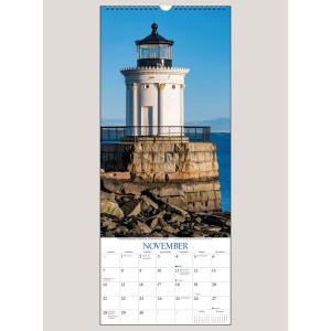 """2021 Lighthouses 9"""" x 22"""" VERTICAL WALL CALENDAR"""