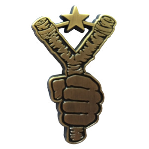 Brass Slingshot Lapel Pin
