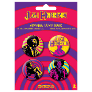 Jimi Hendrix Official Button Pack (Set Of 4)
