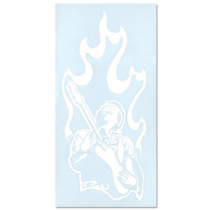 Jimi Hendrix Rub On Silhouette Sticker (White)