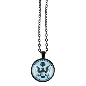 JR Blue Eagle Black Chain Necklace