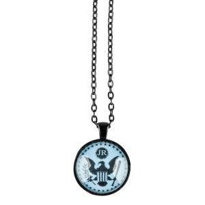 JR Blue Eagle Black Chain Necklace