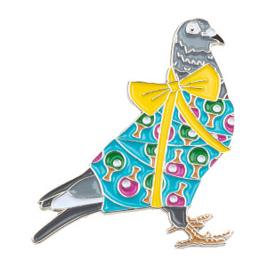 Holiday Pigeon Pin V1 Blue