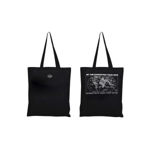 Black 'The Expedition Tour' Tote Bag - With Cities