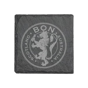 Lion Crest Laser Engraved Slate Coaster Set