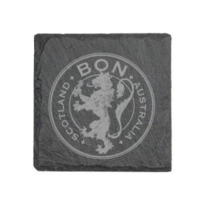 Lion Crest Laser Engraved Slate Coaster Set