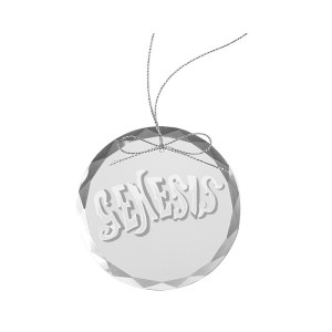 Circa 70s Logo Round Laser-Etched Glass Ornament